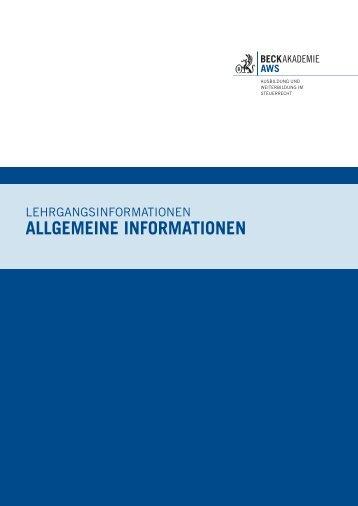 Allgemeine Informationen 2014 - AWS Arbeitskreis für Wirtschafts