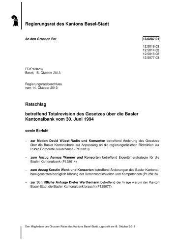 Ratschlag - Basler Kantonalbank