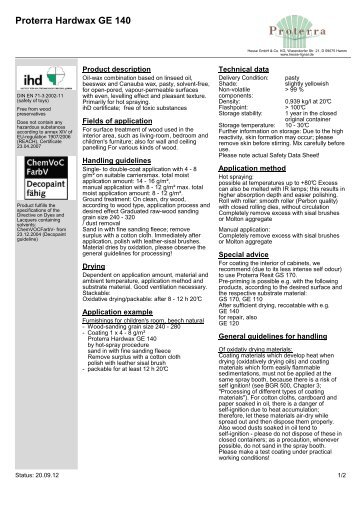 Proterra Hardwax GE 140 - Hesse Lignal