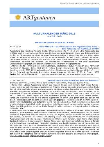 Kulturkalender März 2013 - Embajada de la República Argentina en ...