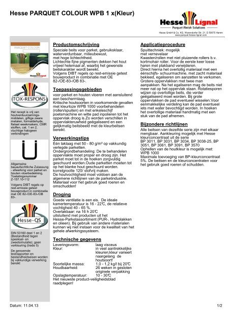 Hesse PARQUET COLOUR WPB 1 x(Kleur) - Hesse Lignal