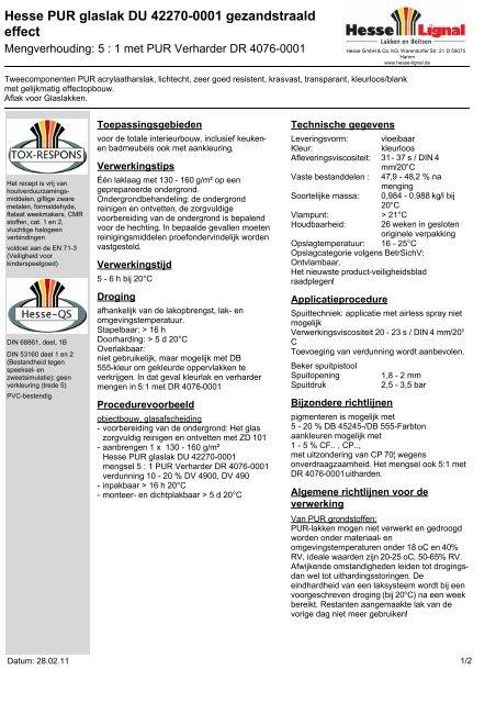 Hesse PUR glaslak DU 42270-0001 gezandstraald ... - Hesse Lignal