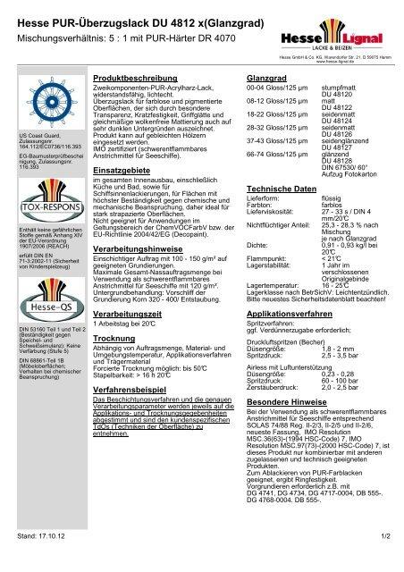 Hesse PUR-Überzugslack DU 4812 x(Glanzgrad) - Hesse Lignal