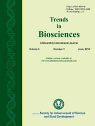 TRENDS IN BIOSCIENCES JOURNAL 6-3 AUGUST 2013 EDITION