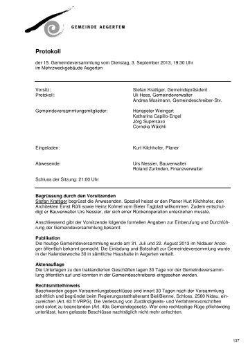 Protokoll GV 03.09.2013_def. Version_2013-09-09 - Aegerten