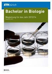 Wegleitung 2013/14 für den BSc-Studiengang Biologie - D-BIOL