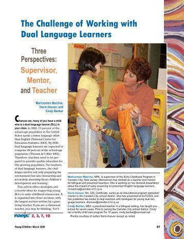 The Challenge of Working with Dual Language Learners Three ...