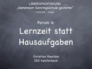 Forum 4: Lernzeiten statt Hausaufgaben - Ganztägig Lernen - Hessen