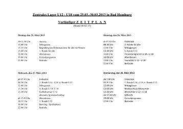 Zentrales Lager U12 - U18 vom 25.03.-30.03.2013 in Bad Homburg ...