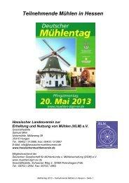 Verzeichnis der am deutschen Mühlentag teilnehmenden Mühlen