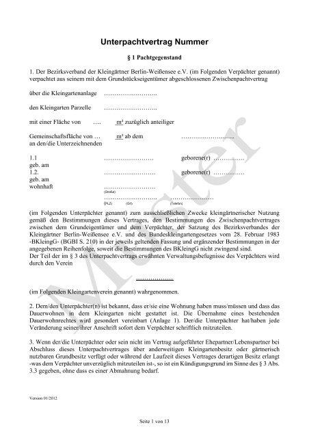 201303 Musterunterpachtvertrag Anlagen P Bezirksverband