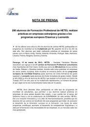 NOTA DE PRENSA - Hetel
