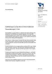 Schifffahrtssperre auf dem Rhein im Stadtbereich Köln - WSV