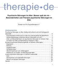 Pressemitteilung zu Psychische Störungen im Alter ... - Therapie.de