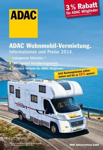 Wohnmobilvermietung Preisliste 2014 - ADAC