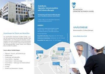 Flyer Anästhesie (PDF) - AGAPLESION DIAKONIE KLINIKEN KASSEL
