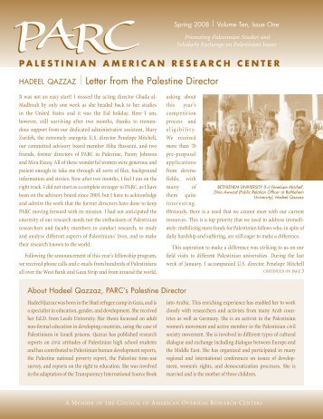| letter from the palestine Director - PARC