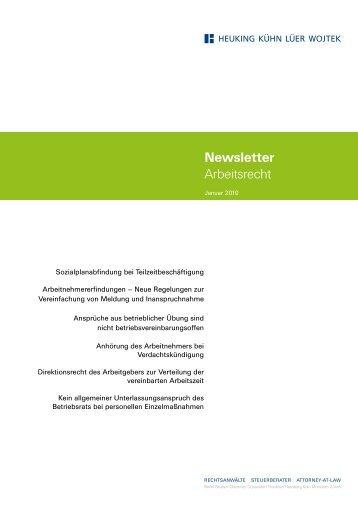Newsletter Arbeitsrecht Januar 2010