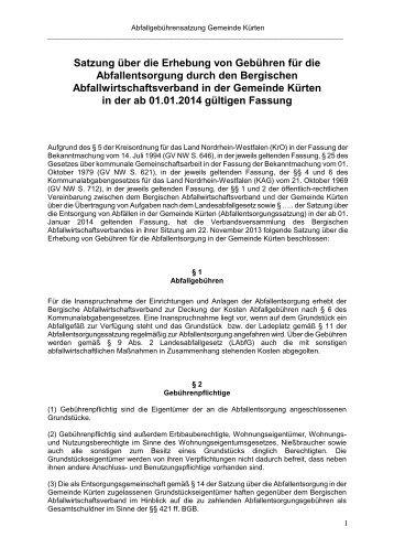 Abfallgebührensatzung der Gemeinde Kürten 2014 - Bergischer ...