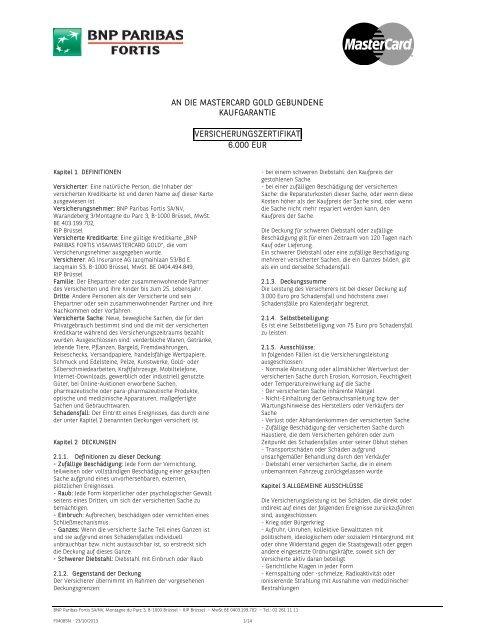 Zertifikate Gold Card-Versicherungen gültig ab 01/01/2014 (pdf)