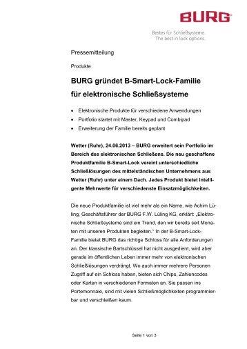 BURG gründet B-Smart-Lock-Familie für elektronische Schließsysteme