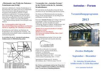 Entwurf Programm HERBST 2013 - St. Antonius Krankenhaus gGmbH