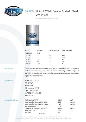 05000D Motoroil 5W-40 Premium Synthetic Diesel VW 505.01 - Heuts