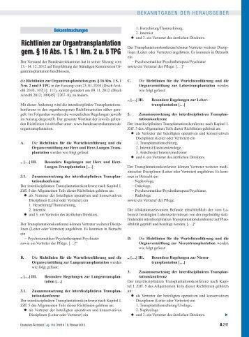 Richtlinien zur Organtransplantation gem. § 16 Abs. 1 S. 1 Nrn. 2 u ...