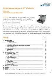 Bedienungsanleitung - POP Werkzeug Inhalt - Heyman