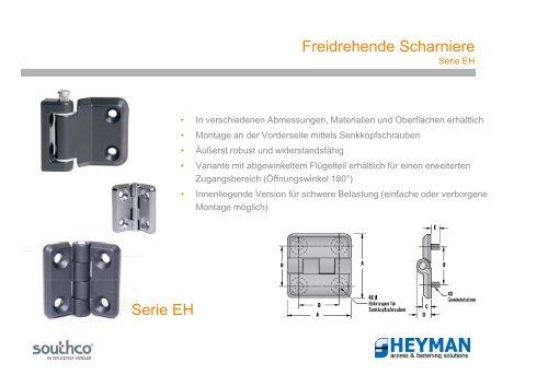 Freidrehende Scharniere Serie EH - Heyman