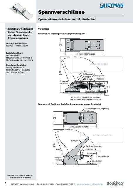 Spannverschlüsse - Heyman Manufacturing GmbH