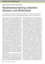 Hautkrebsscreening zwischen Wunsch und Wirklichkeit - Schleswig ...