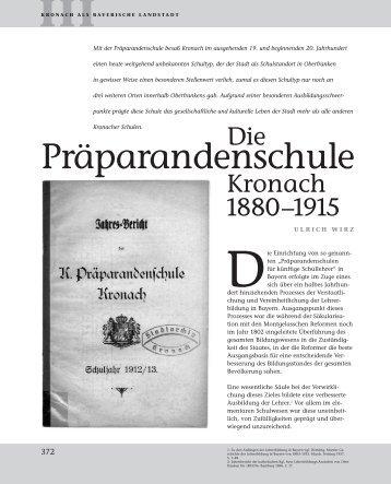 Auflösung der Präparandenschule Kronach - Bezirk Oberfranken