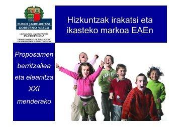 Hizkuntzak irakatsi eta ikasteko markoa EAEn - Hezkuntza ...