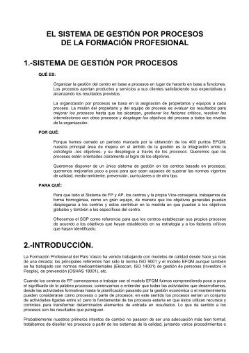 EL SISTEMA DE GESTIÓN POR PROCESOS DE LA FORMACIÓN ...