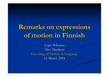 Remarks on expressions of motion in Finnish