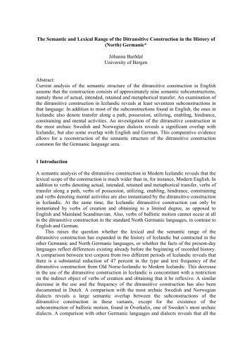 The Semantic and Lexical Range of the Ditransitive Construction in ...