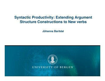 Syntactic Productivity