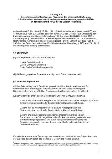Satzung zur Durchführung des Gesetzes zur Förderung des ...
