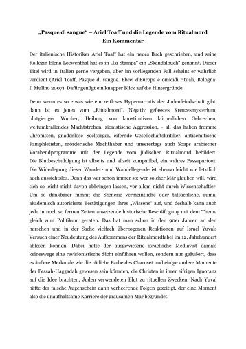 """Pasque di sangue"" – Ariel Toaff und die Legende vom Ritualmord ..."