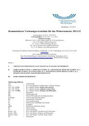 Kommentiertes Vorlesungsverzeichnis für das Wintersemester 2011 ...
