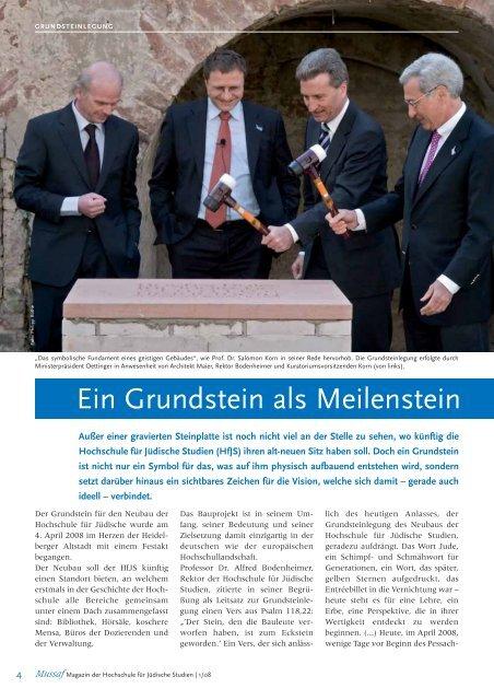 Mussaf 01/08 - Hochschule für Jüdische Studien Heidelberg