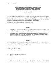 Studienplan des Bachelor-Studiengangs (BA) Jüdische Studien