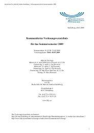 Kommentiertes Vorlesungsverzeichnis für das Sommersemester 2009