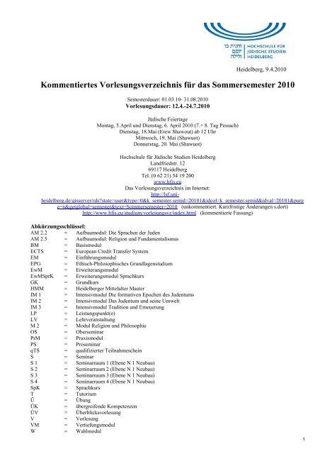 Kommentiertes Vorlesungsverzeichnis für das Sommersemester 2010