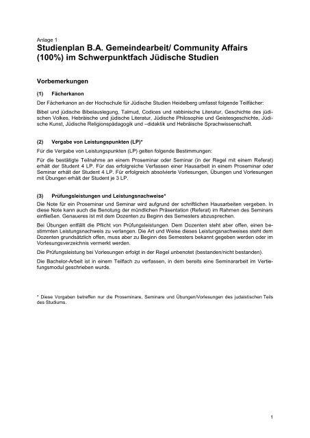 Studienplan BA Gemeindearbeit/ Community Affairs