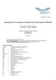 Kommentiertes Vorlesungsverzeichnis für das Wintersemester 2009 ...