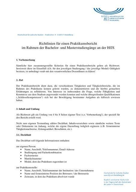 Richtlinien für einen Praktikumsbericht im Rahmen der Bachelor ...