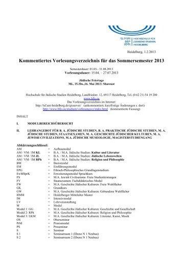 Kommentiertes Vorlesungsverzeichnis für das Sommersemester 2013