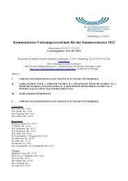 Kommentiertes Vorlesungsverzeichnis für das Sommersemester 2012